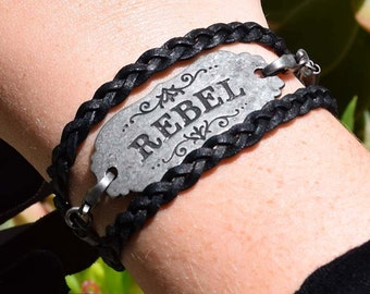 "Black Leather braided wrap bracelet with Rebel charm, leather bracelet is  20"" long, boho jewelry, bohemian jewelry, free shipping"