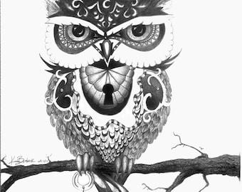 Owl & Key Print