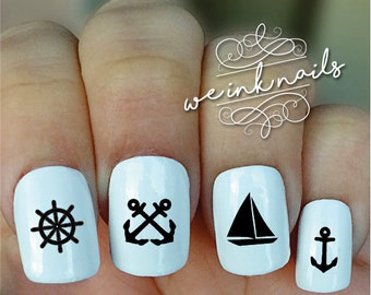 Nautical Nail Decals Etsy
