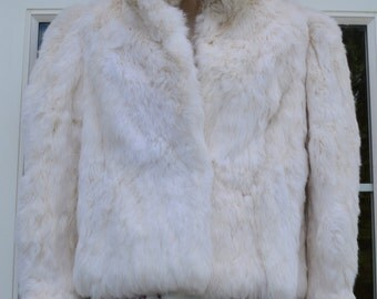Beautiful Authentic White Rabbit Fur Coat/Jacket With Silver Fox Fur Collar!