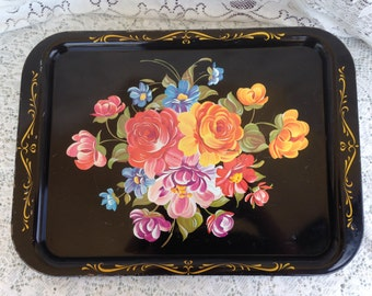 Vintage Toleware  Black Tin Tray with Hand Painted Flowers Farmhouse Style with Gold Trim