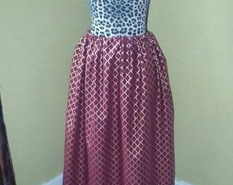 Burgundy and Gold Print Skirt