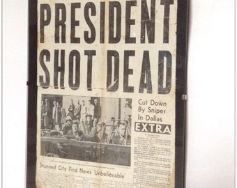 Hand aged reproduction New York World Telegram newspaper cover JFK assassination.