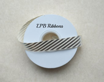"7/8"" Cream ribbon with foil diagonals, Cream ribbon, Cream grosgrain ribbon, Grosgrain ribbon, US Designer Ribbon, Foil Ribbon"
