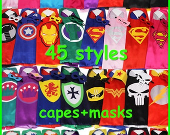 Party Pack 17,18,19,21,22,23 Superhero capes and masks-Ironman, Spiderman, Avengers - Birthday Party Favors - Birthday Gift - Birthday ideas