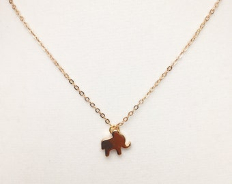 Flat Elephant 18K Rose/Gold filled Chain with a Gold Plated Charm