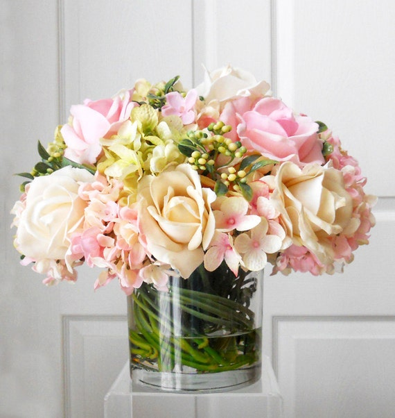 Real Touch Roses Flower Arrangement Silk Flowers By
