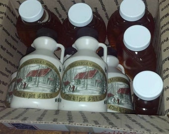 5 pints of maple syrup and 5 one pound honey