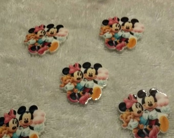 Set of 5 Minnie and mickey design flat back resins
