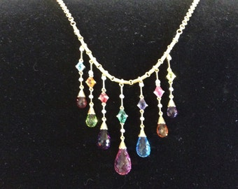 4mm Faceted Multi Color Tourmaline Beads and Diamonds 18 k Yellow Gold Necklace