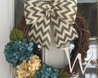 All Season Wreath, Hydrangea Wreath, Blue Hydrangea Wreath, Spring wreath, Year Round Wreath, Fall Wreath, Monogram Wreath,  Summer Wreath.