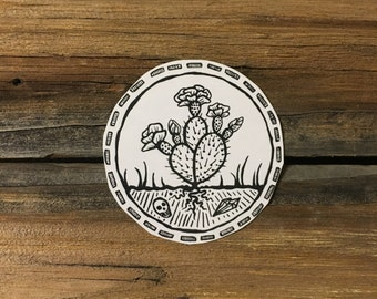 Blooming Prickly Pear Cactus Temporary Tattoo, Skull, Crystals, Desert, Cacti Floral, Circle, Nature Scene Tattoo