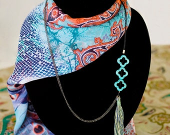 Multi Strand Statement Necklace with Turquoise.  IC: SDB5577000N7002