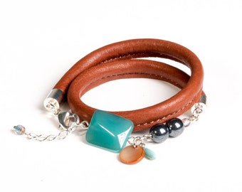 Cognac Brown Leather Bracelet 'Turquoise-Black'