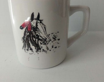 Horse With American Indian Feather in Mane Coffee Tea Mug