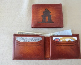 Inukshut, leather wallet, Horween leather,hand dyed, billfold, 6 credit card slots, Canadian made