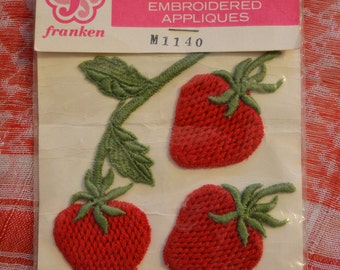 Vintage Franken Strawberry Embroidered Appliques