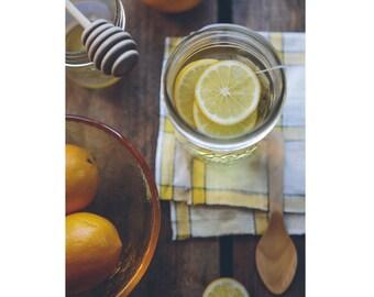 Tea - Honey - Lemon - Tea Photo - Tea with Lemon - Still Life - Food Art - Vertical Photo - Digital Photo - Digital Download - Kitchen Decor