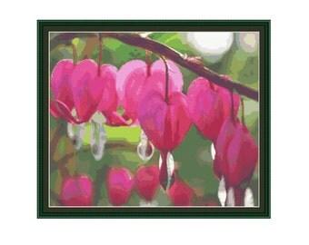 Counted cross stitch pattern Bleeding Heart Flower,Instant download PDF