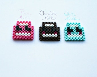 Perler bead milk magnet set / Pink Chocolate and White / Cute Kawaii magnets for your fridge