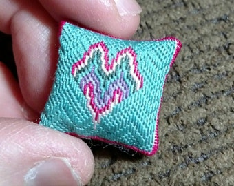 OOAK Miniature Dollhouse Needlepoint Cushion by IGMA Artisan Marilyn A. Miller