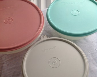 Vintage Tupperware 3 Bowl set Nesting Bowls Small mixing bowl trio dusty rose mauve pink gray sea mist teal turquoise