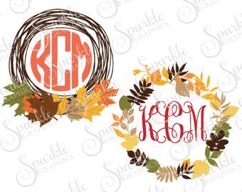 Fall Monogram Frame Cut File Autumn SVG Fall SVG Leaves Leaf Monogram Frame  Clipart Svg Dxf Eps Png Silhouette Cricut Vinyl Commercial Use