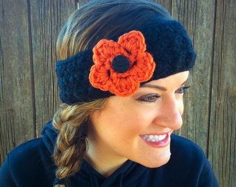Crochet Flower Headband, Adult Flower Headband, Crochet Puff Flower, Women's Headband, Crochet Ear Warmer