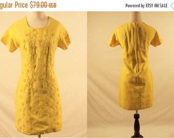 ON SALE 1960's Short Sleeve Yellow Shift Dress