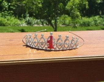 Birthday crown. First Birthday crown. Baby Girl Birthday crown. FIRST Birthday Tiara. Rhinestone Princess crown. First Princess crown. Girl