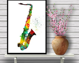 Saxophone Poster,Colorful Instrument, watercolor print,Woodwind Instrument, Music watercolor illustration,gift, print(03)