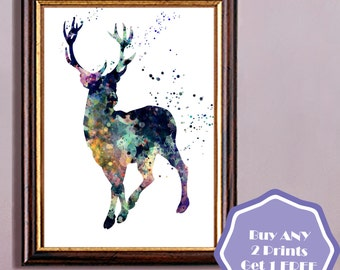 Harry Potter, Stag Patronus, watercolor print,  watercolor painting, aquarelle, colorful, animal(01)