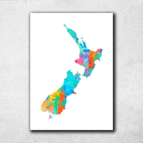 New Zealand Map Kiwi Map Wall Art Watercolor Print Map By