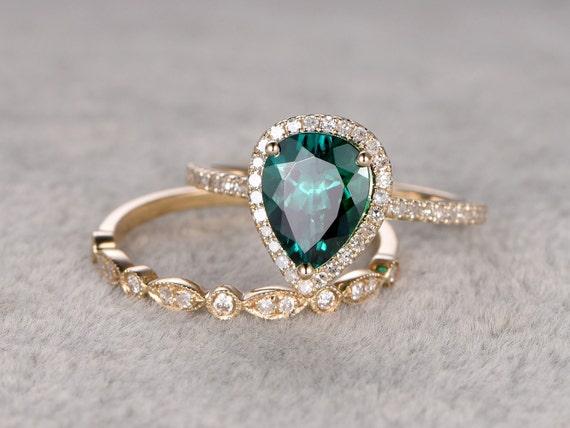 2pc emerald ring bridal setengagement ring yellow