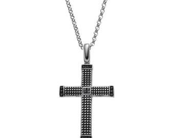 Cross Pendent black Diamond necklace for Men Streling silver