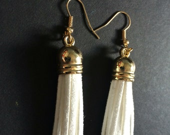White suede tassle earrings