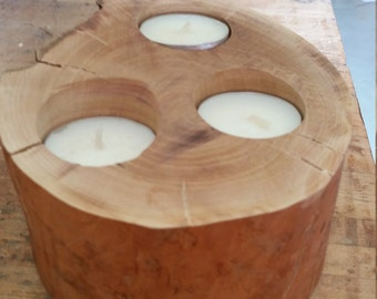 Log Tea Light Candle