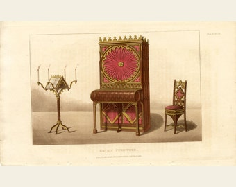 1825 Antique Furniture Fashion Print Ackermann's Repository of Arts Elegant Gothic Furniture Color Fashion Engraving - FREE SHIPPING