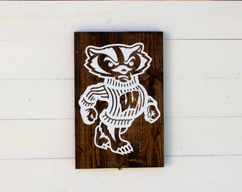Wisconsin Badgers Rustic Wooden Sign | Bucky Badgers Sign | Bucky Sign | Madison |  On Wisconsin Sign | College Sign | Madison Wisconsin