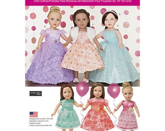"Sewing Pattern for 18"" Doll Wardrobe , Simplicity Pattern 1135, Formal Dresses, Party Dresses,  Elaine Heigl Designs, Dress Pattern 18"" Doll"