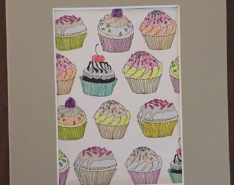 Cupcake watercolor pencil 5 x 7 matted