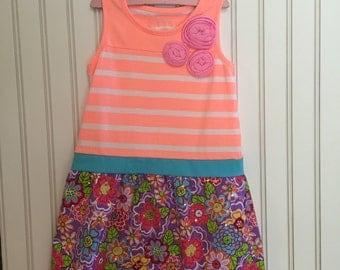 orange and flower dress size 5