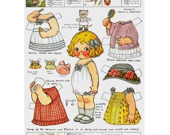 Vintage paper doll Dolly Dingle, paper doll clipart, vintage clipart, dress up dolls, cut out printables, vintage dolls, instant download