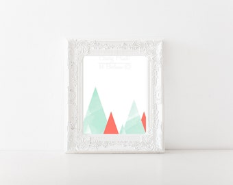 Coral and Mint Triangles Print
