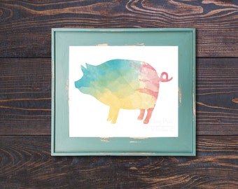 Cheery Watercolor Pig Print