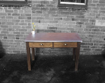 Galvanised top kitchen table 1940's