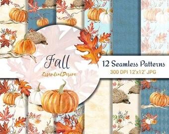 Watercolor Handpainted Paper, Seamless Patterns Fall, Scrapbook Paper, Watercolor Hedgehog, Pumpkin Digital Paper Autumn leaves, Halloween