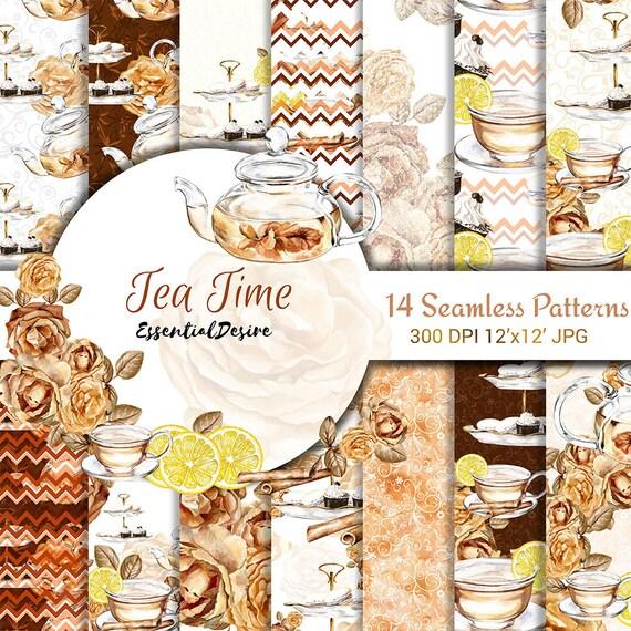 Tea Time Paper Pack, Tea Party Digital Paper Pack, Seamless Patterns Scrapbook, Illustration Printable, Scrapbook Paper, Teapot, Teacup