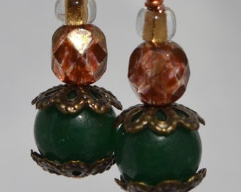 Green and Brick Colored Beaded Earrings