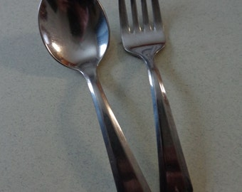 Vintage Royal Streamline Stainless Baby Flatware Mixed Lot Spoon and Fork